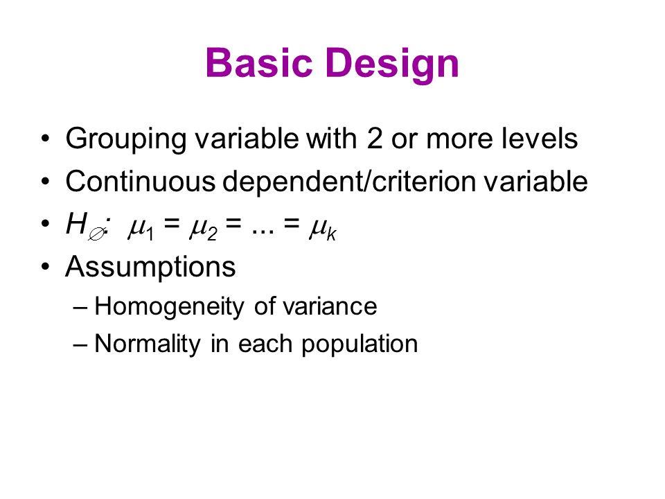 The Model Y ij =  +  j + e ij, or, Y ij -  =  j + e ij.