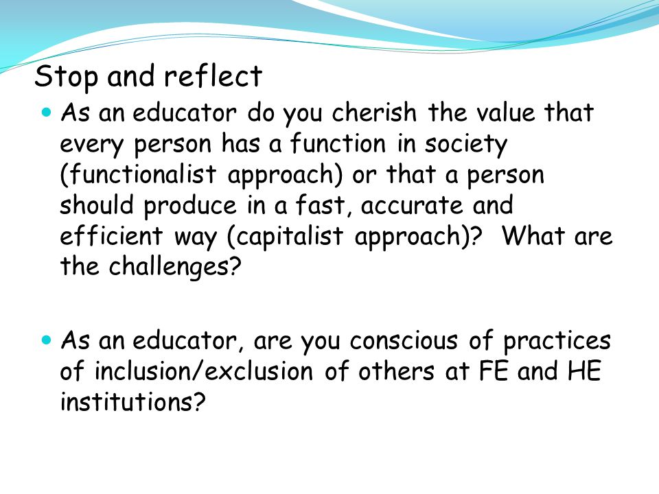 Stop and reflect Do you include from a rights-based or charity- based perspective.