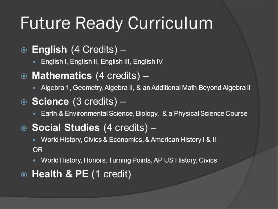 Future Ready Curriculum  Electives or Other Requirements (6 credits) 2 Elective credits of any combination from either: ○ Career and Technical Education ○ Arts Education ○ Second Language 4 Elective credits (four course concentration) strongly recommended from one of the following: ○ Career and Technical Education ○ Arts Education ○ ROTC ○ Any other subject area (e.g.
