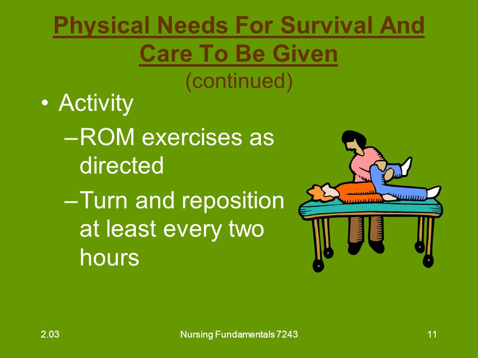 Nursing Fundamentals 724312 Physical Needs For Survival And Care To Be Given (continued) Activity –Assist with activity as directed –Encourage movement –Encourage interesting recreational activities 2.03