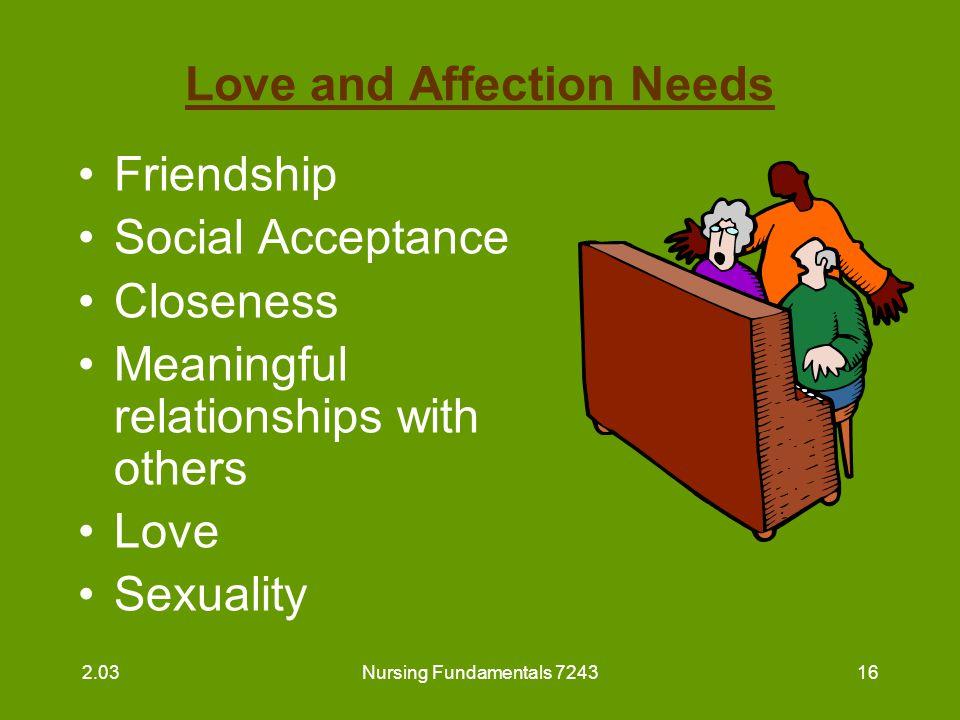 Nursing Fundamentals 724317 Love and Affection Needs (continued) Belonging –Need met by family/support system –Friends may meet this need 2.03