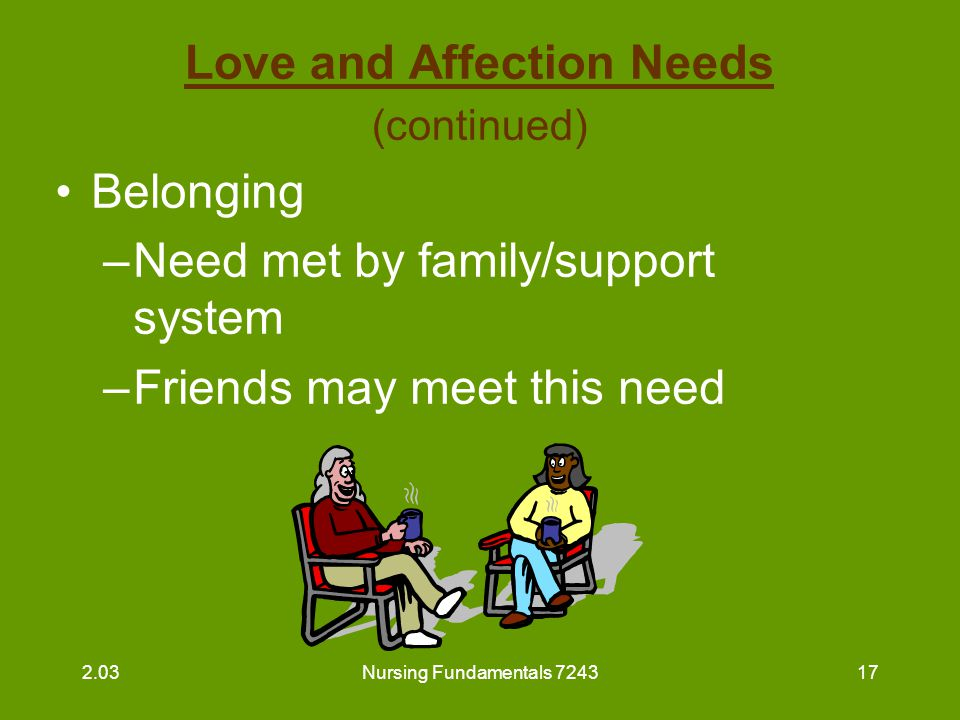 Nursing Fundamentals 724318 Love and Affection Needs (continued) The nursing staff as family: take time to greet residents when you see them sit and visit for a few minutes when time allows show interest in residents 2.03