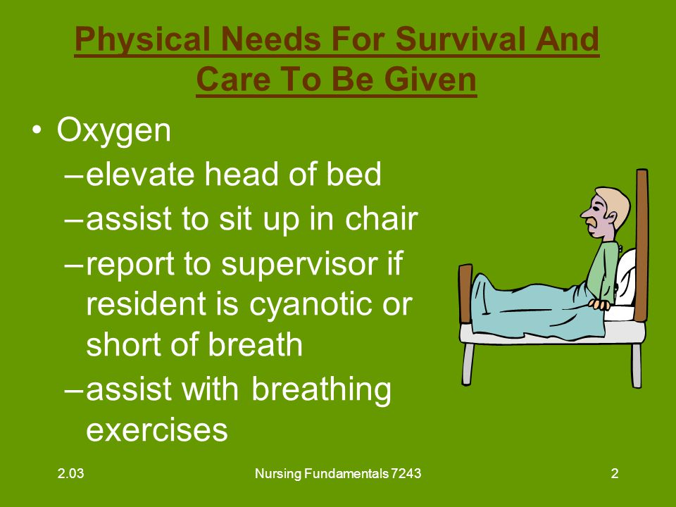 Nursing Fundamentals 72433 Physical Needs For Survival And Care To Be Given (continued) Food –Feed residents unable to feed themselves 2.03