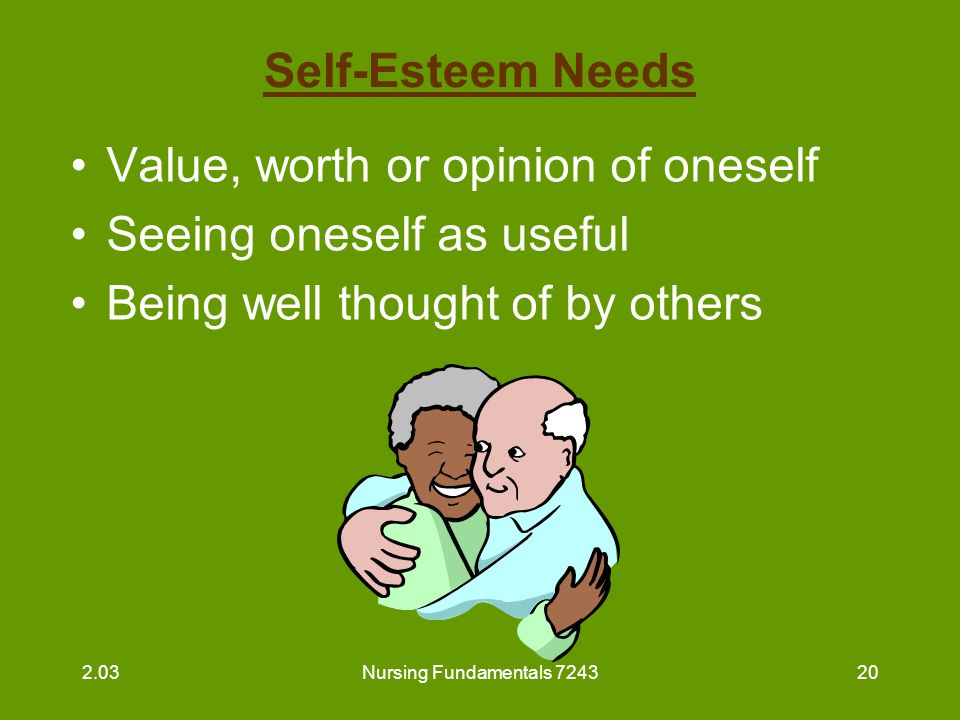 Nursing Fundamentals 724321 Self-Esteem Needs (continued) Nurse aide's responsibilities –call resident by proper name –praise accomplishments –discuss current issues –request resident's opinion –show respect and approval 2.03