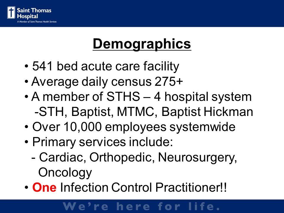 Pods- 40 beds 5 Pods- 8 beds per pod *Average 650 line days per month Special Care Units- 60 beds *Average 500 line days per month *Approximately 1,000 ICU line days per month Saint Thomas ICUs