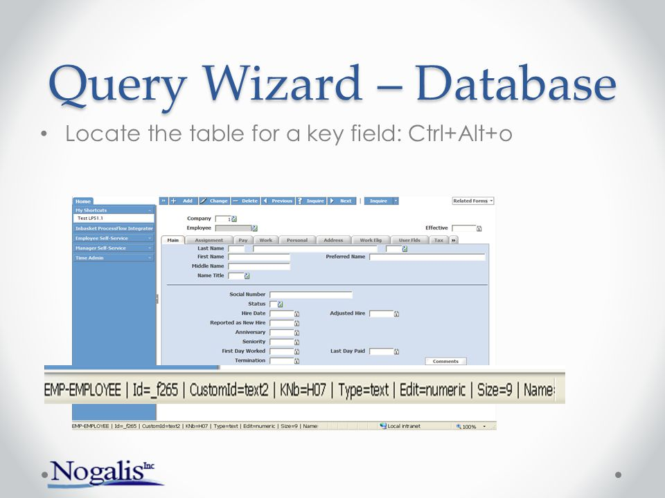 Query Wizard – Database When logged in, choose Database Tables
