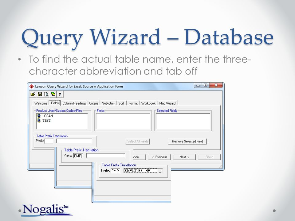 Query Wizard – Database Choose product line, click to see system codes