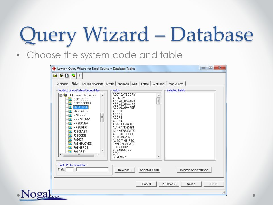 Query Wizard – Database Choose fields from primary and related tables