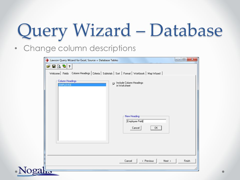 Query Wizard – Database Select an index and values