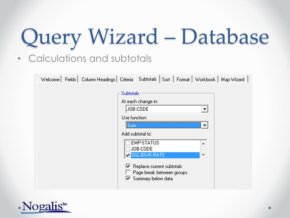 Query Wizard – Database Sort order Order defaults from the Index Override index by settings on Sort tab
