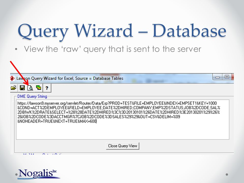 Query Wizard – Database Sample result