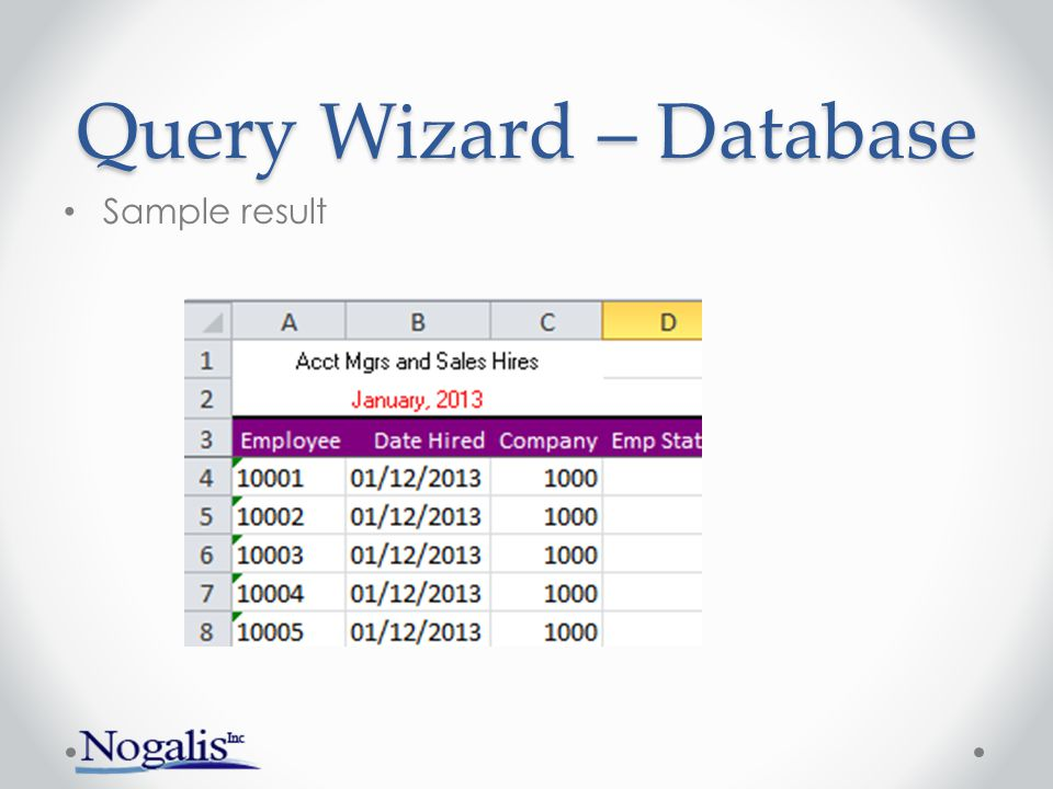 Query Wizard – Database Result with totals