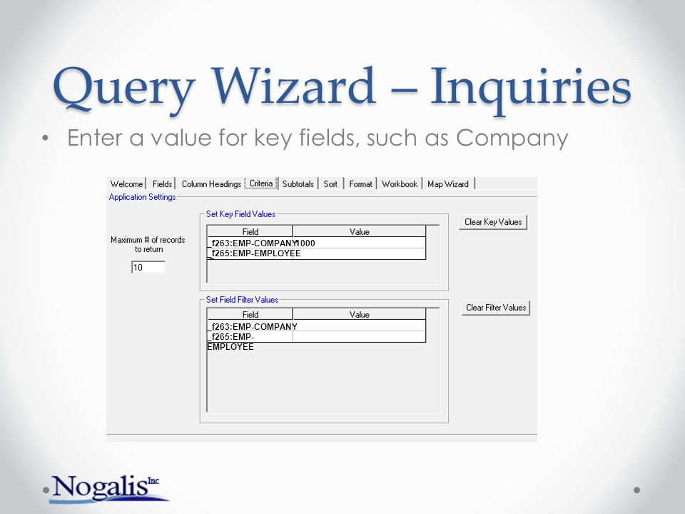 Uploads Decide on which form to use Use Inquiry Addin to build (download) a template o S3 Query Wizard, choose Application radio button Add a column for Left Column Check (optional) Fill in template with new values Close Query Wizard and open Upload Wizard Tie Upload Wizard fields to Excel columns Upload