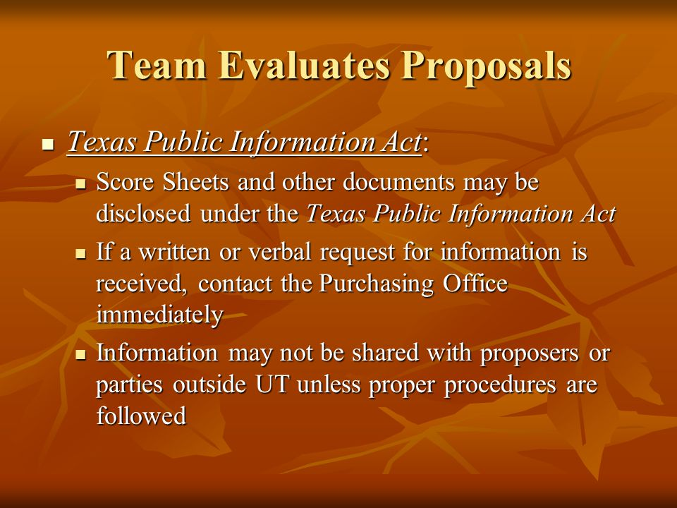 Team Evaluates Proposals Score Sheets and Recommendation: Score Sheets and Recommendation: All Score Sheets and a Recommendation for Award summarizing why the successful proposer was chosen, should be submitted to the Purchasing Office