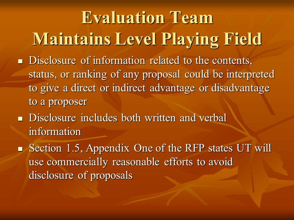 Team Evaluates Proposals Electronic Information Resources (EIR): Electronic Information Resources (EIR): If EIR are licensed, purchased or developed, the Team must evaluate the EIR for accessibility and compliance with UTS150 before scoring proposals or selecting a successful proposal