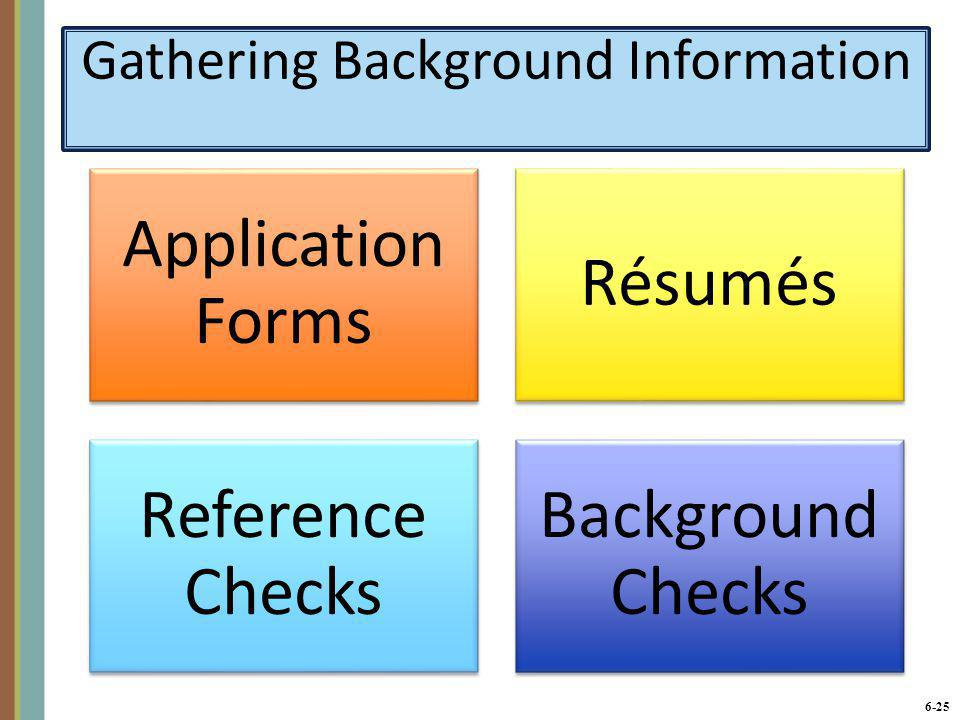 6-26 Application Forms A low-cost way to gather basic data from many applicants.
