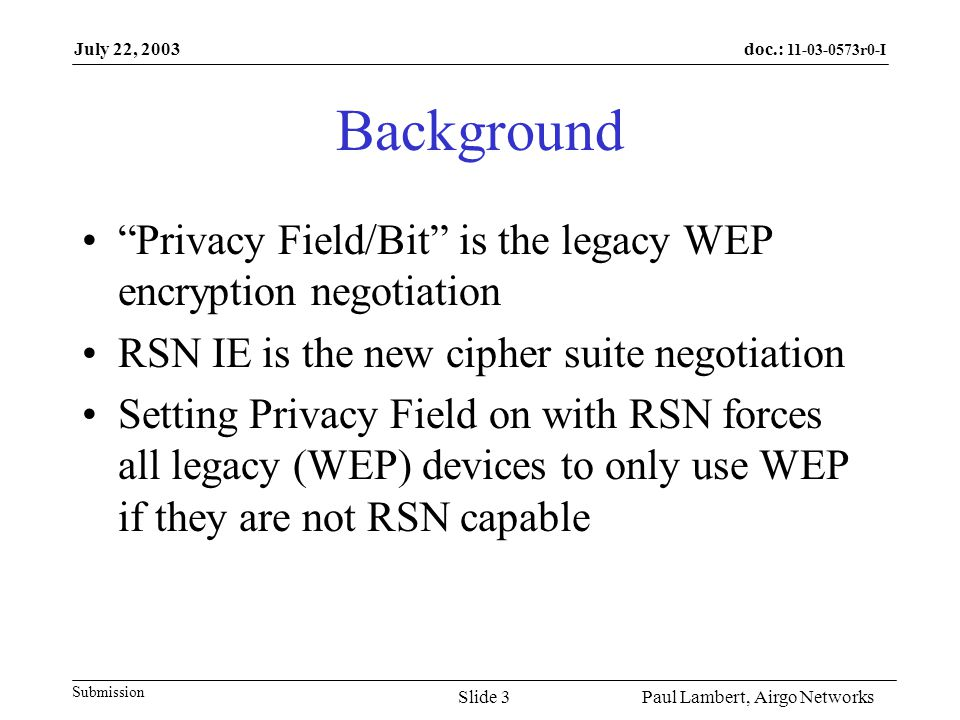 doc.: 11-03-0573r0-I Submission July 22, 2003 Paul Lambert, Airgo NetworksSlide 4 What's Wrong with Always Setting the Privacy Field A client STA may not always have a key.