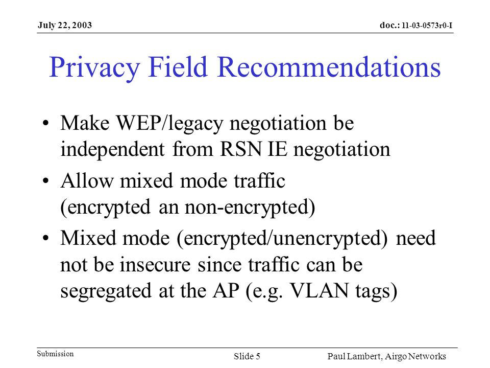 doc.: 11-03-0573r0-I Submission July 22, 2003 Paul Lambert, Airgo NetworksSlide 6 Motion Replace the first paragraph in section 7.3.1.4 Capability Information field with: STAs (including APs) that include the RSN IE in beacons and probe responses may set the Privacy Subfield to 0 or 1 independent of the RSN IE.