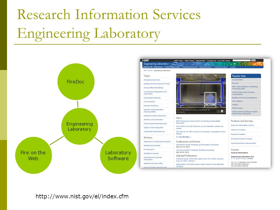 FireDoc Building Fire Research Lab http://www.nist.gov/bfrl/firedoc.cfm FireDoc is a collection of 80,000 building & fire documents from many sources Bibliographic ONLY, no full text Journal articles, conference proceedings, technical documents