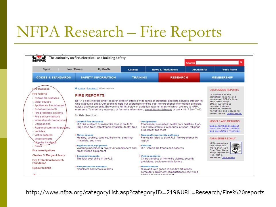 NFPA Fire Investigation Reports http://www.nfpa.org/categoryList.asp?categoryID=241&URL=Research/Fire%20investigations