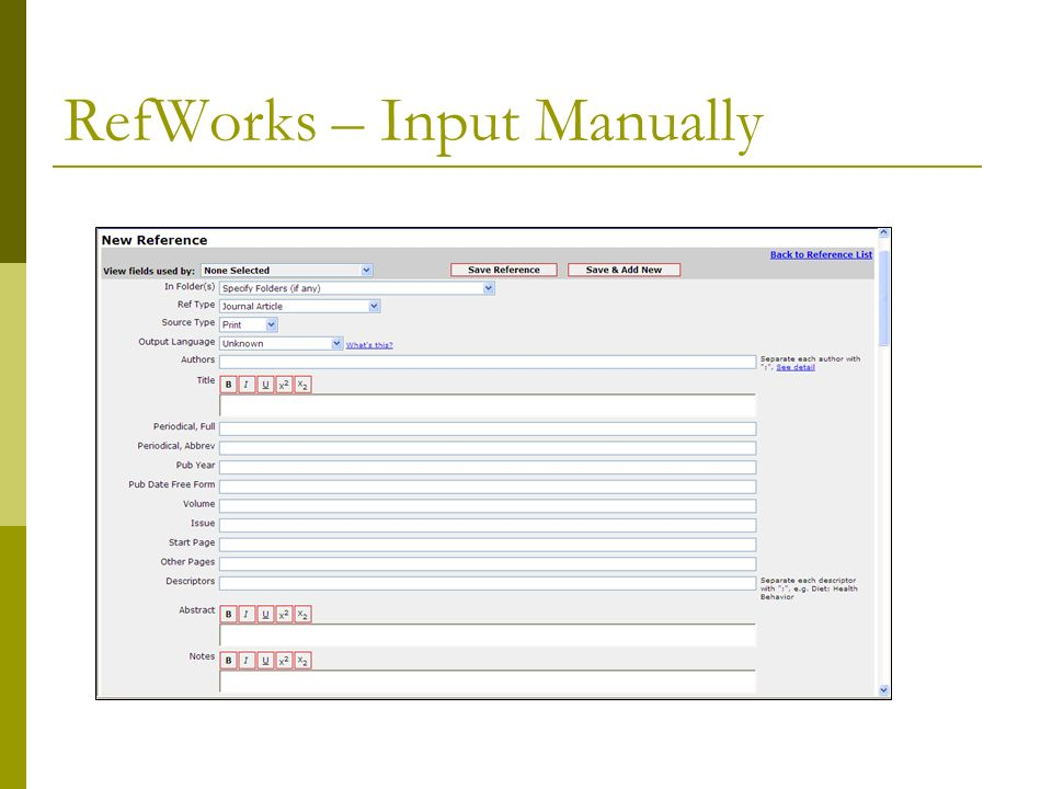 RefWorks – Upload Directly Add content directly from UW TRELLIS catalogue Add content directly from e-Journals or Databases ie.