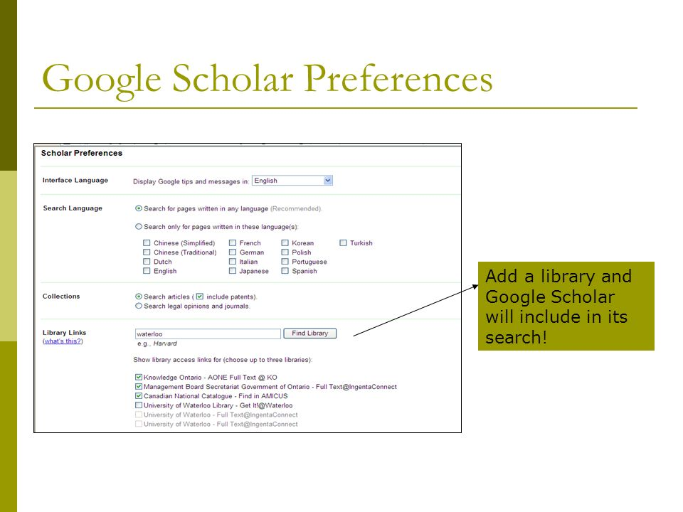Google Scholar Search by keyword, phrase, author Limit by publication or by years