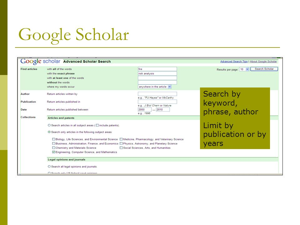Google Scholar Results Limit to Engineering Citations/Summaries Click Cited by for more articles