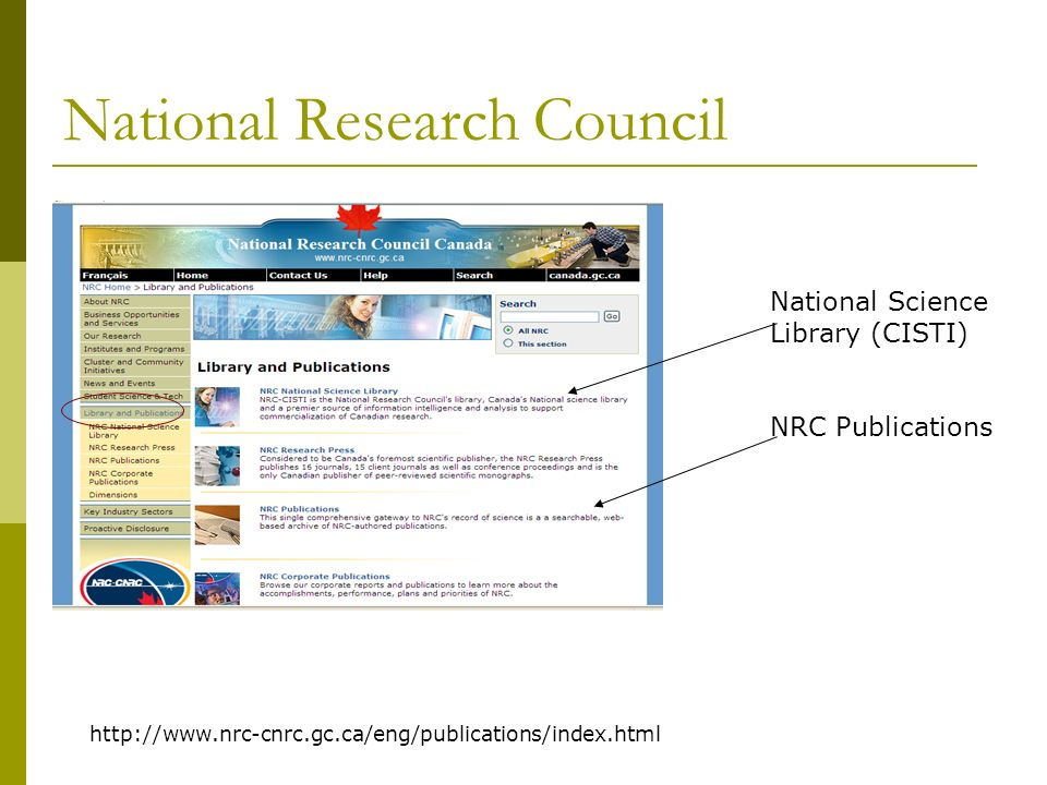 National Research Council Discover Database Use Discover for Journal Articles… can order thru CISTI.