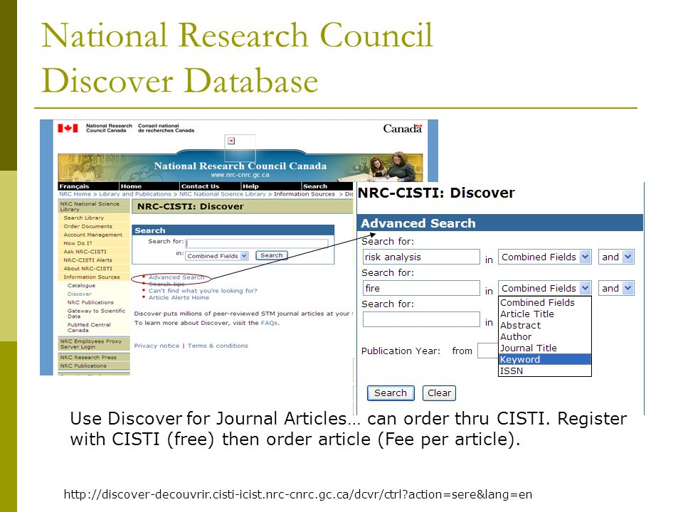 National Research Council Discover Database Create an alert to monitor journal, share the article with colleagues