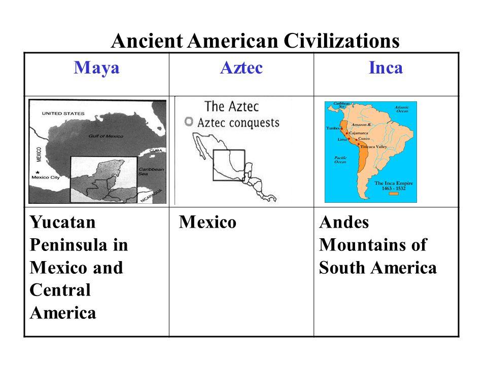 MayaAztecInca Yucatan Peninsula in Mexico and Central America MexicoAndes Mountains of South America Ancient American Civilizations