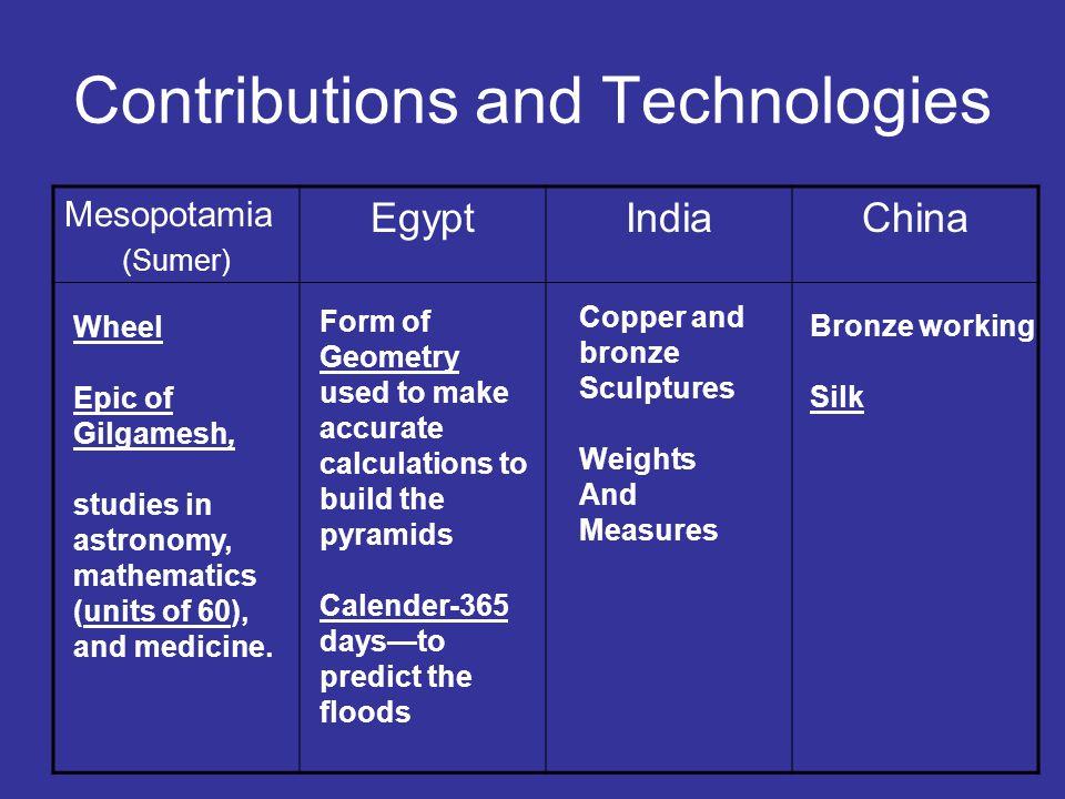 Contributions and Technologies Mesopotamia (Sumer) EgyptIndiaChina Wheel Epic of Gilgamesh, studies in astronomy, mathematics (units of 60), and medicine.
