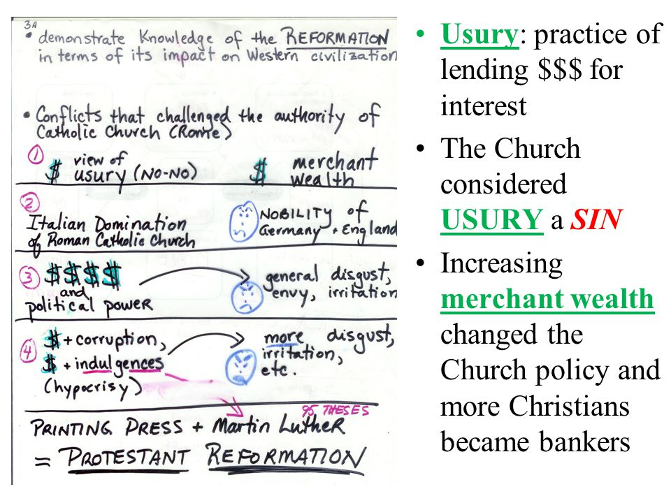 Usury: practice of lending $$$ for interest The Church considered USURY a SIN Increasing merchant wealth changed the Church policy and more Christians became bankers