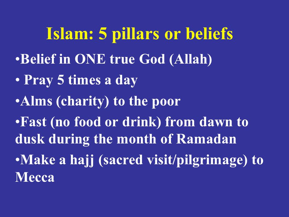 Islam: 5 pillars or beliefs Belief in ONE true God (Allah) Pray 5 times a day Alms (charity) to the poor Fast (no food or drink) from dawn to dusk during the month of Ramadan Make a hajj (sacred visit/pilgrimage) to Mecca