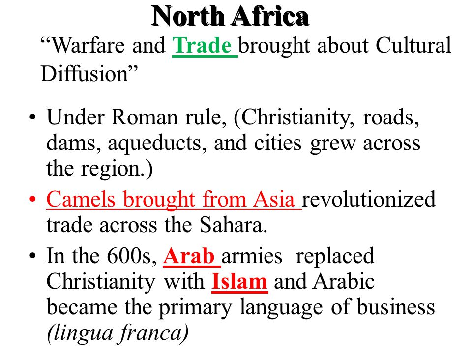 Under Roman rule, (Christianity, roads, dams, aqueducts, and cities grew across the region.) Camels brought from Asia revolutionized trade across the Sahara.