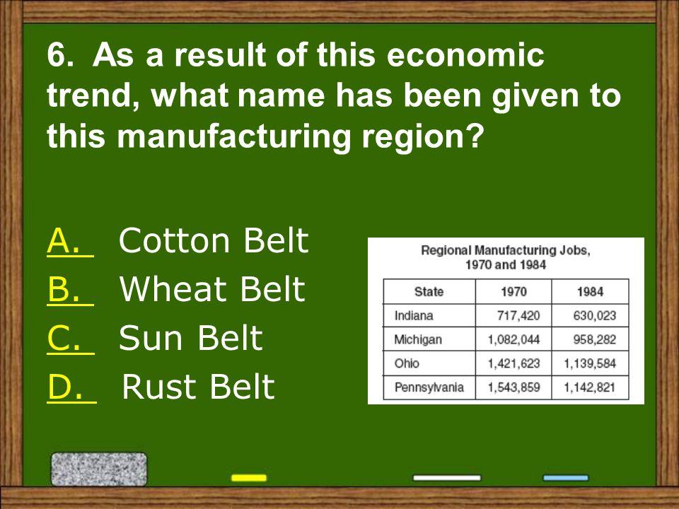A.A. Cotton Belt B. B. Wheat Belt C. C. Sun Belt D.
