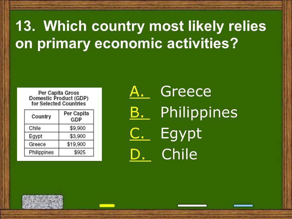 A.A. Greece B. B. Philippines C. C. Egypt D. D. Chile 13.