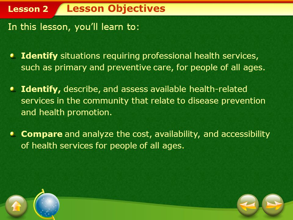 Lesson 2 Lesson Objectives Identify situations requiring professional health services, such as primary and preventive care, for people of all ages.