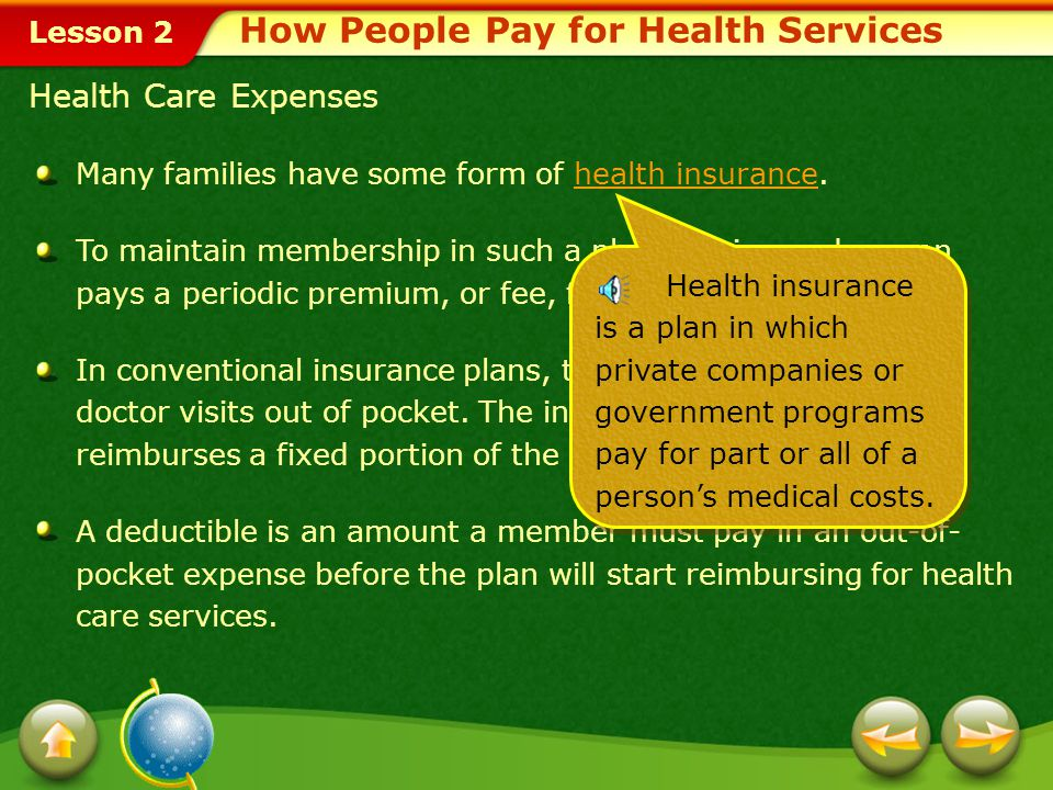 Lesson 2 Many families have some form of health insurance.health insurance To maintain membership in such a plan, the insured person pays a periodic premium, or fee, for medical coverage.