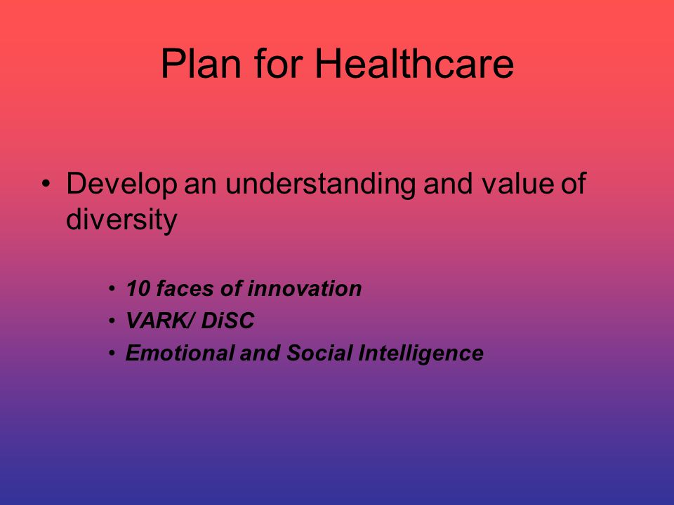 Plan for Healthcare Blue print of your team Value, Motivation and Goals Team strength and weaknesses Team relationship to the complexity of healthcare, complexity of operational management and complexity of behaviors in a transformational leader