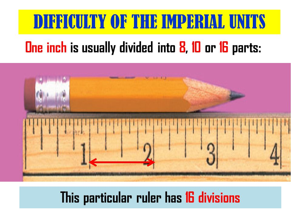One inch is usually divided into 8, 10 or 16 parts: DIFFICULTY OF THE IMPERIAL UNITS So, the smallest division = 1/16 th of an inch