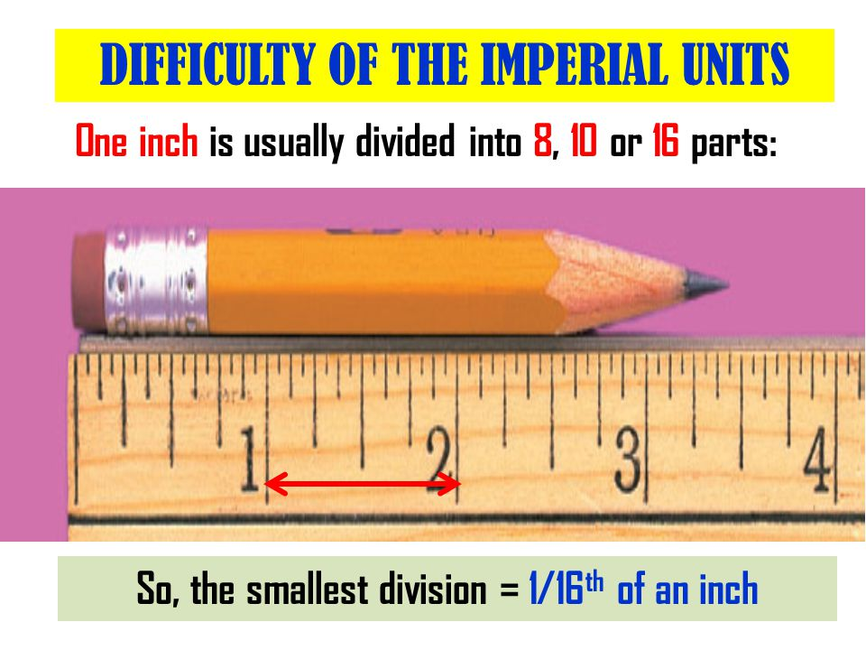 One inch is usually divided into 8, 10 or 16 parts: What is the length of the pencil.