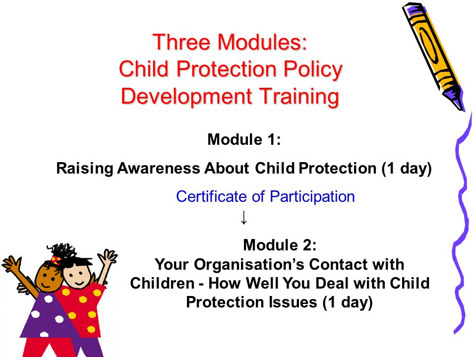 Module 3: What Organisations Can Do to Improve Their Child Protection Status (Optional: International child protection standards) ↓ Organisational Assessment Certificate of Participation ↓ Child protection system developed and implemented ↓ Evaluation ↓ An award or certificate granted by a national-level coordinating body