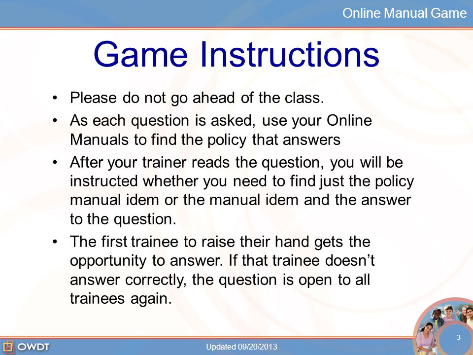 Online Manual Game OLM Game 1.Who is in the CDC Group Composition.