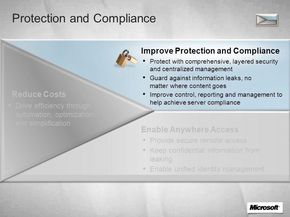 Security and Compliance Challenges Manual labor and human error High costs associated with compliance monitoring Compliance Unauthorized use of confidential information Siloed approaches to identity management Data Leakage Prevention New malware up 750 percent in 2008 $276 million in cybercrime in 2008 75 percent of breaches from insiders Security Threats Continue to Evolve Data from various antispam sources indicates that in 2007, ~73% of all Internet email was spam.