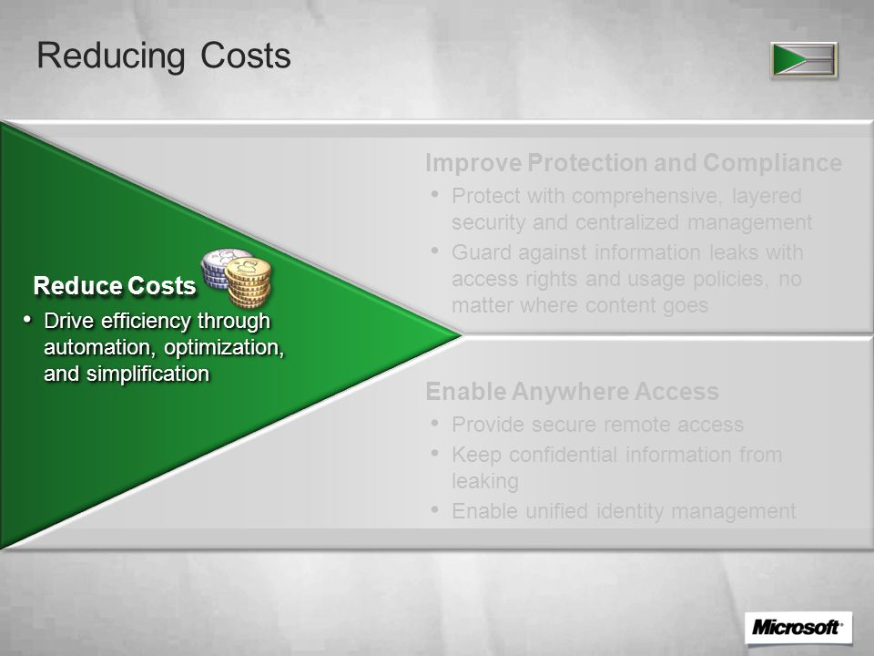 Server Environment Cost Challenges Enable New Business Scenarios Drive IT Efficiency Reduce Costs Extend Access