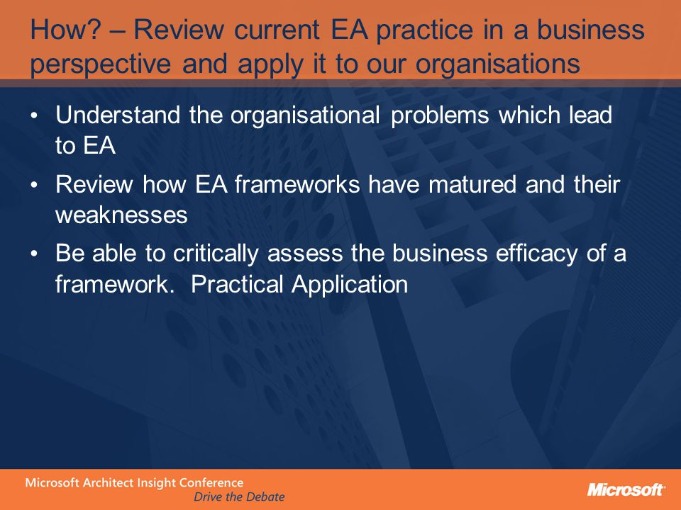 What were the Organisational problems which lead to EA?