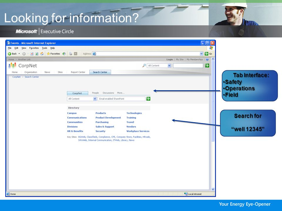 Unified Search- simplify!! Search Customer /Employee data from SAP Well logs Production data MSDS