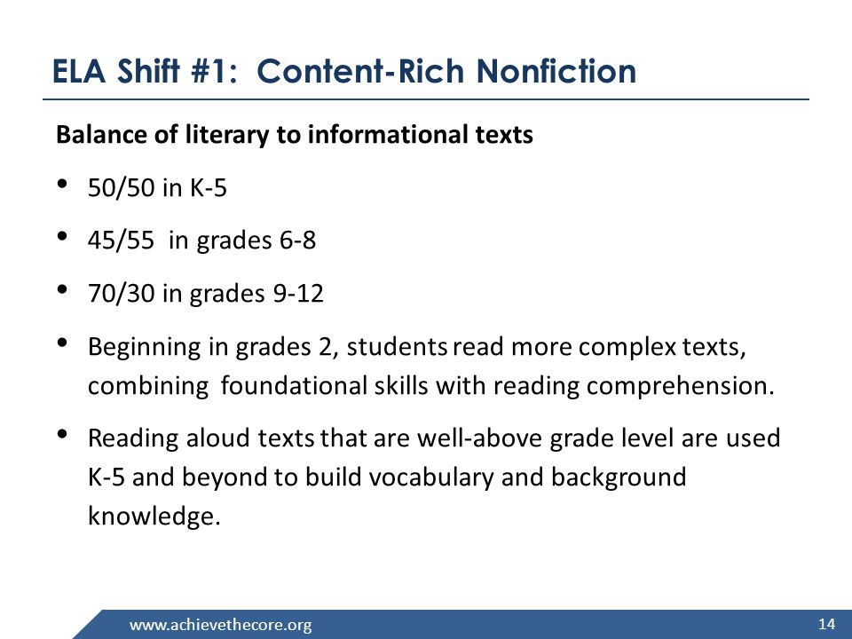 www.achievethecore.org ELA Shift #2: Using Text Evidence Most college and workplace writing requires evidence.