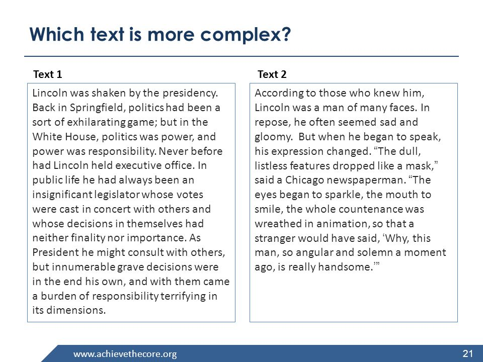 www.achievethecore.org What are the Qualitative Features of Complex Text.