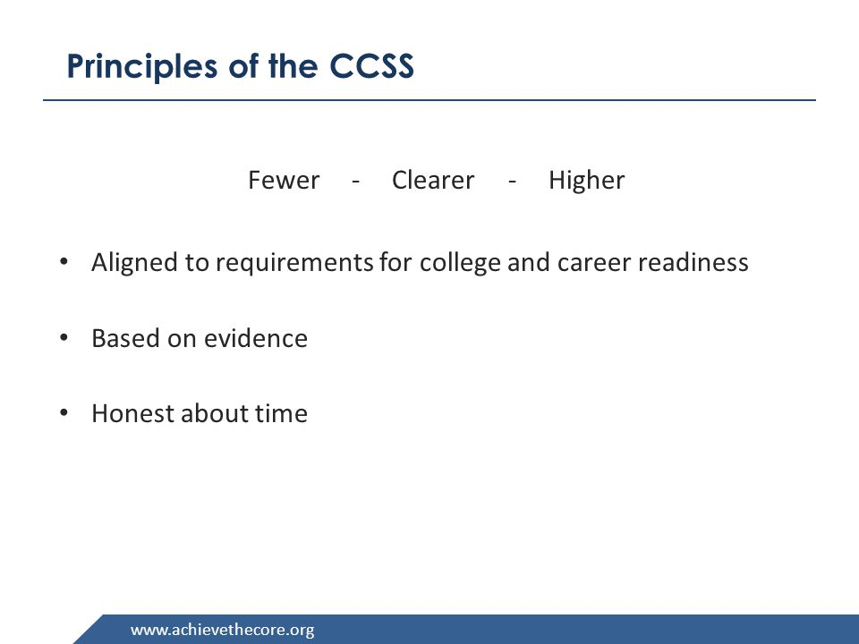 www.achievethecore.org Structure of the ELA Standards Four Strands: Reading, Writing, Speaking and Listening, Language There are Reading and Writing Strands for History/Social Studies, Science and Technical Subjects Text complexity standards are listed by grade bands : K-1, 2-3, 4-5, 6-8, 9-10, 11-12, CCR – College and Career Ready) Strand Anchor Standard Grade- Specific Standard 10